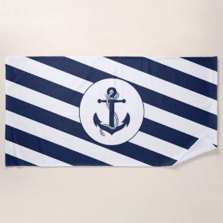 Nautical Navy Blue & White Stripe Anchor Beach Towel