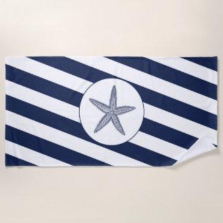 Nautical Navy Blue & White Stripe Starfish Beach Towel