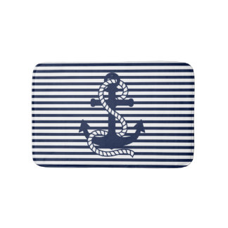 Nautical Navy Blue White Stripes and Blue Anchor Bath Mat