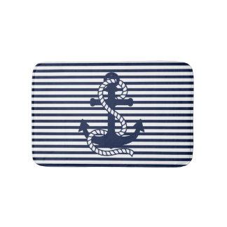 Nautical Navy Blue White Stripes and Blue Anchor Bath Mats