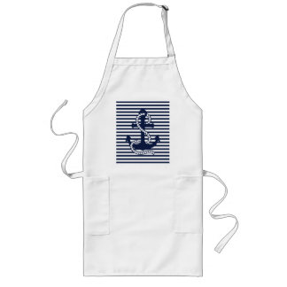 Nautical Navy Blue White Stripes and Blue Anchor Long Apron