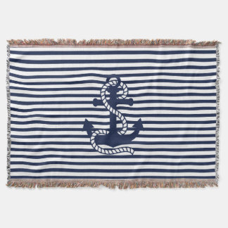 Nautical Navy blue White Stripes and Blue Anchor Throw Blanket