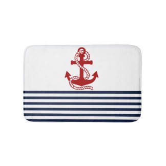 Nautical Navy Blue White Stripes and Red Anchor Bath Mat