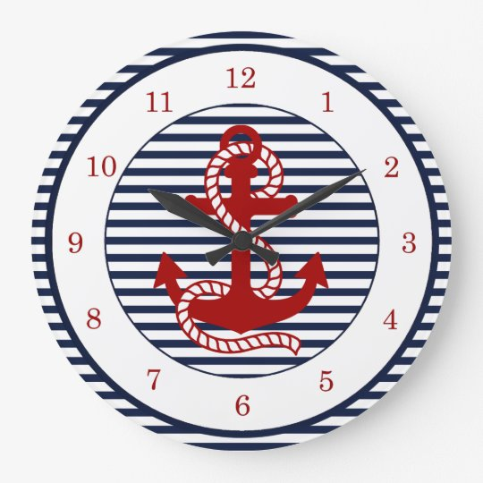 Nautical Navy Blue White Stripes and Red Anchor