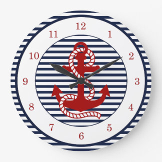 Nautical Navy Blue White Stripes and Red Anchor Large Clock
