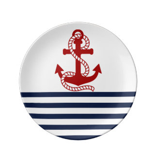 Nautical Navy Blue White Stripes and Red Anchor Porcelain Plates