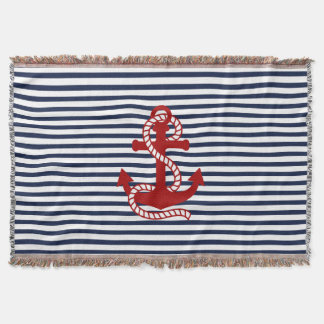 Nautical Navy blue White Stripes and Red Anchor Throw Blanket
