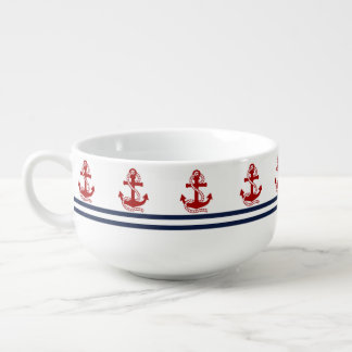 Nautical Navy Blue White Stripes and Red Anchors Soup Bowl With Handle