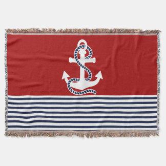 Nautical Navy blue White Stripes and White Anchor