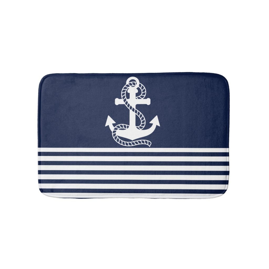 Nautical Navy Blue White Stripes and White Anchor Bath Mat