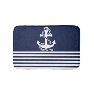 Nautical Navy Blue White Stripes and White Anchor Bath Mat
