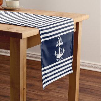 Nautical Navy Blue White Stripes and White Anchors