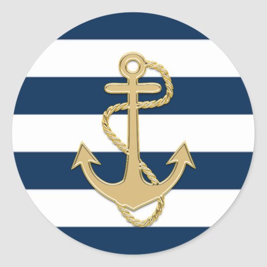 Nautical Navy Blue White Stripes Gold Anchor Classic Round Sticker
