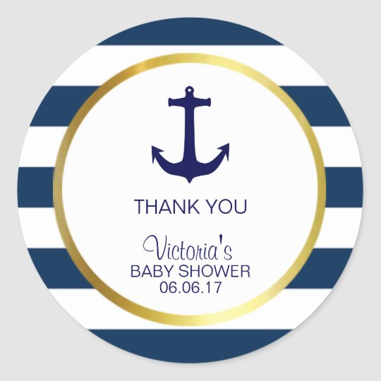 Nautical Navy Blue White Stripes Gold Baby Shower