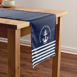 Nautical Navy Blue White Stripes & White Anchors