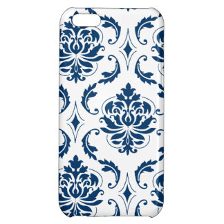 Nautical Navy Blue White Vintage Damask Pattern iPhone 5C Case