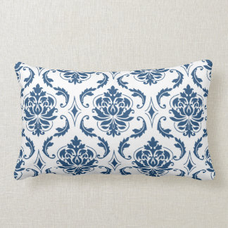 Nautical Navy Blue White Vintage Damask Pattern Lumbar Cushion