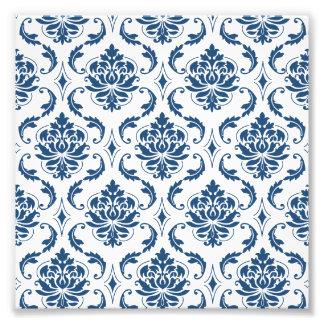 Nautical Navy Blue White Vintage Damask Pattern Photo