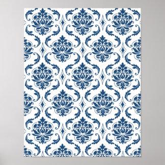 Nautical Navy Blue White Vintage Damask Pattern Poster