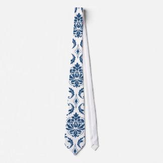 Nautical Navy Blue White Vintage Damask Pattern Tie