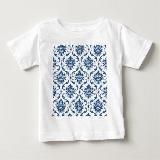 Nautical Navy Blue White Vintage Damask Pattern Tshirts