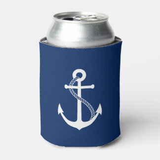 Nautical Navy Blue with White Anchor Can Cooler