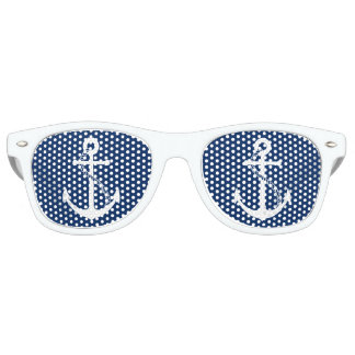 Nautical Navy Blue with White Anchor Retro Sunglasses