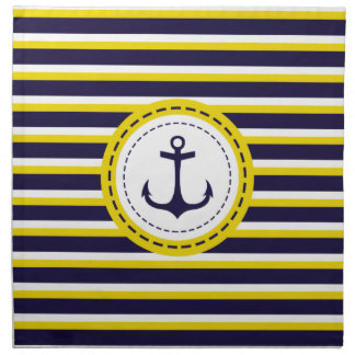 Nautical Navy Blue Yellow Stripes Anchor Design Napkin