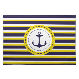 Nautical Navy Blue Yellow Stripes Anchor Design Placemat