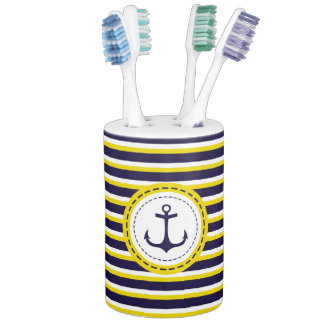 Nautical Navy Blue Yellow Stripes Anchor Design Soap Dispenser And Toothbrush Holder