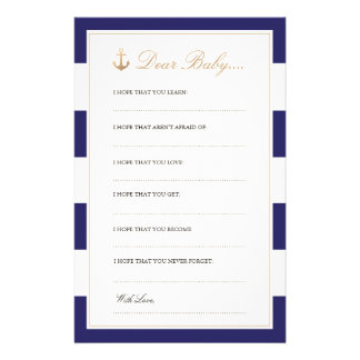 Nautical Navy   Dear Baby Cards Personalized Stationery