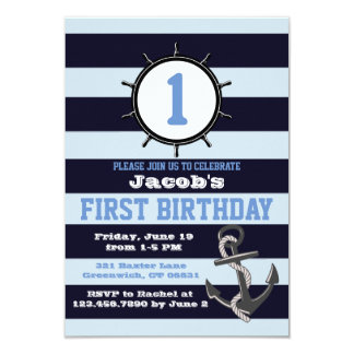 Nautical Navy First Birthday Invitations