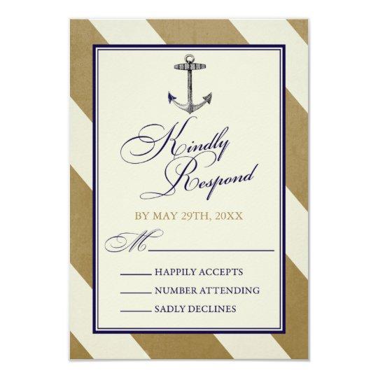 Nautical Navy & Gold Wedding RSVP Cards