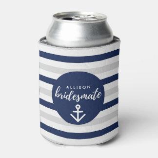 """Nautical Navy Gray Bridesmaid """"Bridesmate"""" Gift"""