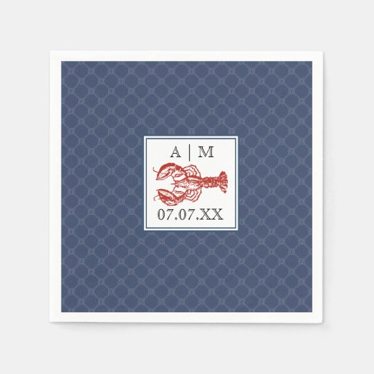 Nautical Navy Knot & Lobster Personalised Napkin Paper