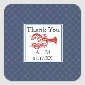 Nautical Navy Knot & Lobster Personalized Sticker