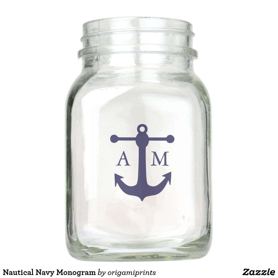Nautical Navy Monogram Mason Jar