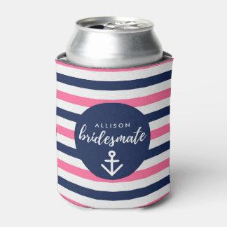 """Nautical Navy Pink Bridesmaid """"Bridesmate"""" Gift"""