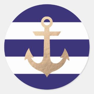 Nautical Navy Round Sticker