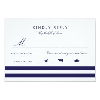 Nautical Navy RSVP W/ Meal Options Card