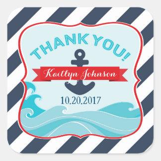 Nautical Navy Stripe Anchor Ocean Wave Thank You Square Sticker