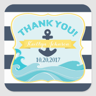 Nautical Navy Stripe Anchor Ocean Wave Thank You Square Sticker