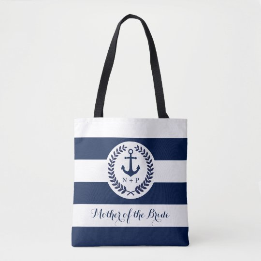 Nautical Navy Stripe Wedding Party Customised Tote Bag