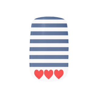 Nautical Navy stripes and red hearts False Nails Minx Nail Art