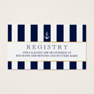 Nautical, Navy Stripes Wedding Registry Card