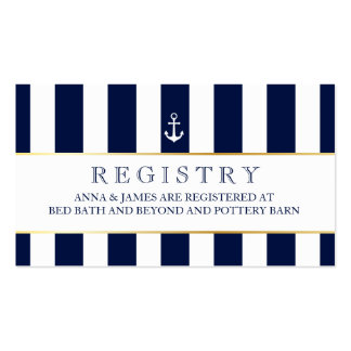Nautical, Navy Stripes Wedding Registry Card Pack Of Standard Business Cards