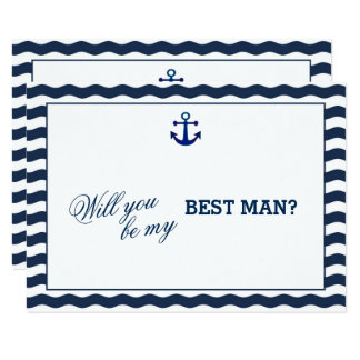 Nautical Navy Waves Anchor WILL YOU BE MY BEST MAN 9 Cm X 13 Cm Invitation Card