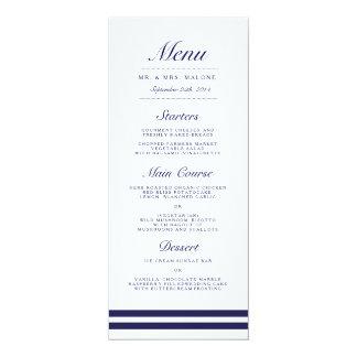 Nautical Navy Wedding Dinner Menu 10 Cm X 24 Cm Invitation Card