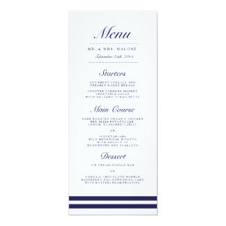Nautical Navy Wedding Dinner Menu Card