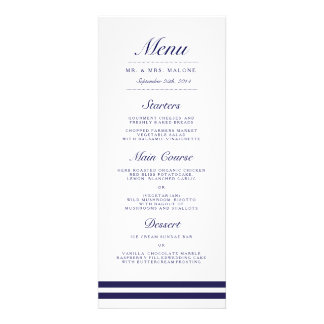Nautical Navy Wedding Dinner Menu Invite